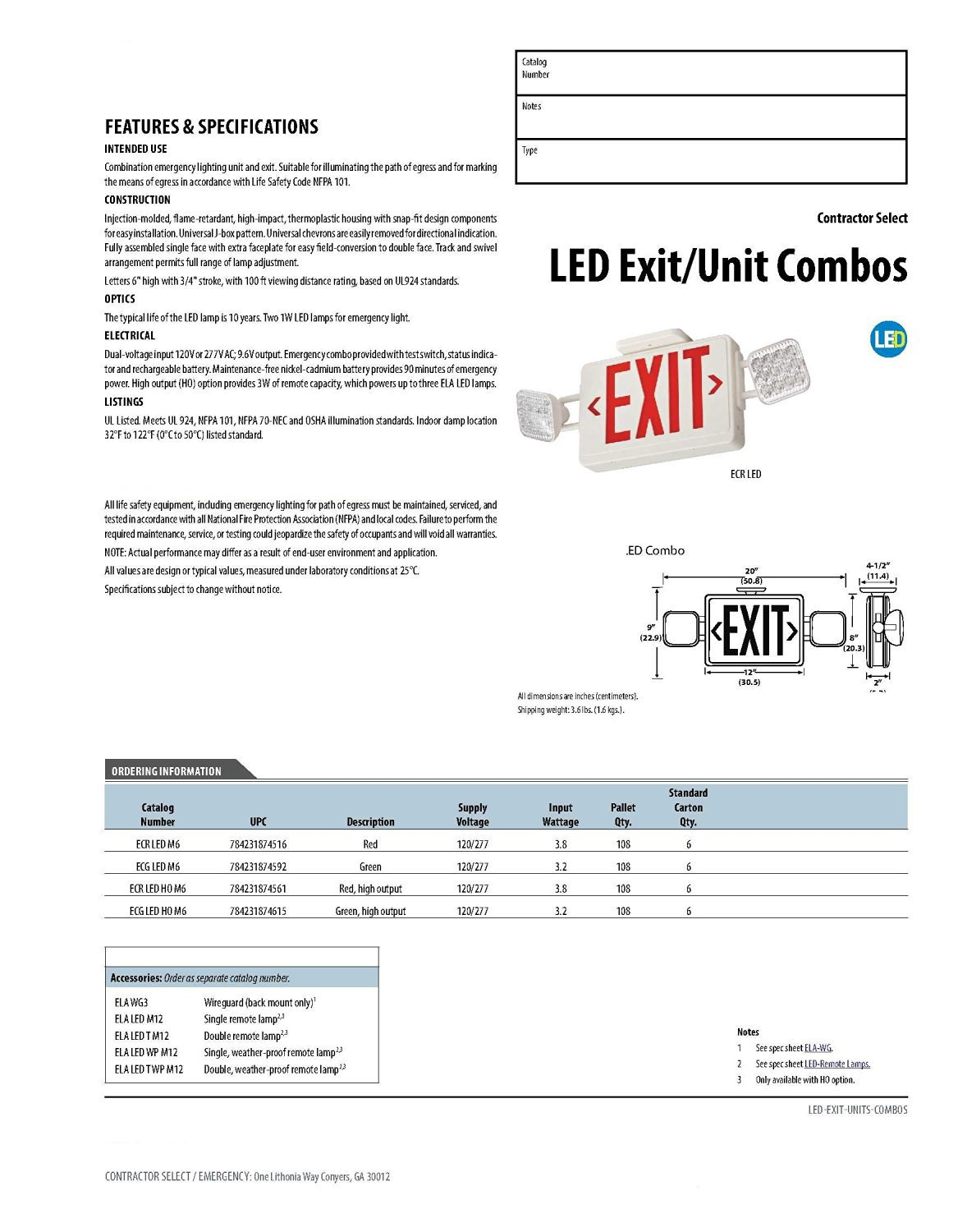 Lithonia Lighting Ecr Led Ho M6 Contractor Select