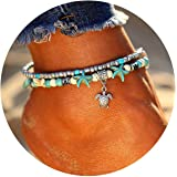 Amazon Price History for:17mile Blue Starfish Turtle Anklet Multi-layer Charm Beads Sea Bench Handmade Boho Anklet Foot Jewelry Gifts for Women