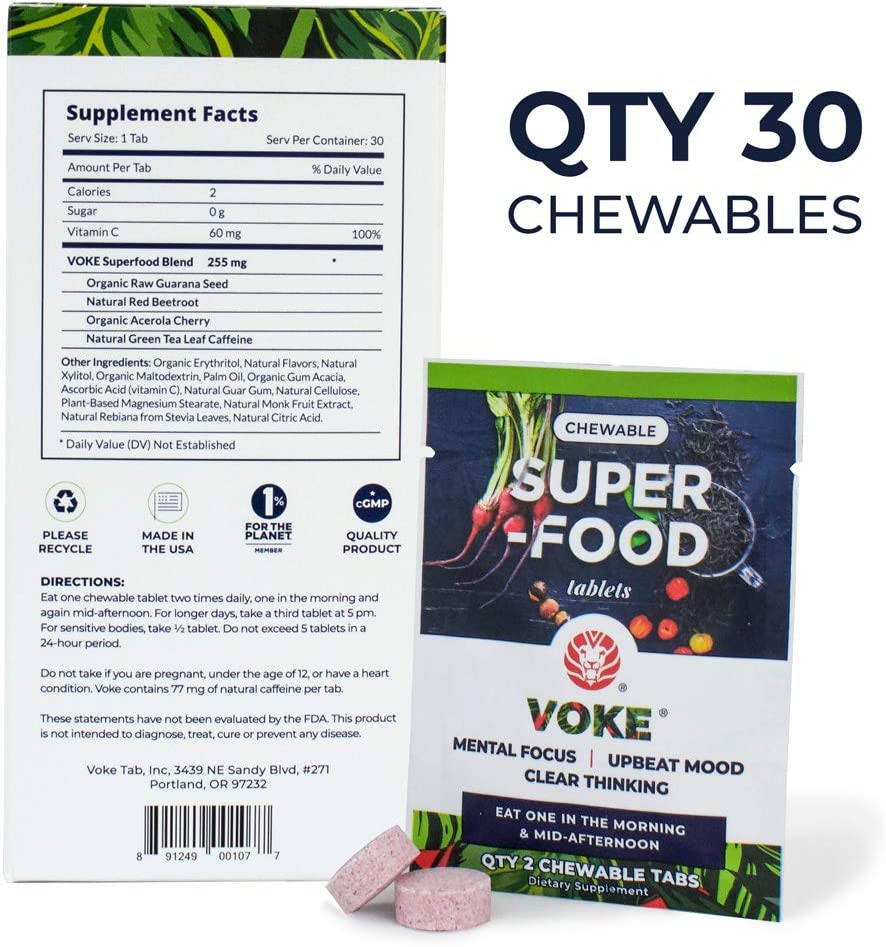 Voke Superfood Memory, Focus, and Mental Clarity Supplement 30 Chewable Natural Mental Energy Tablets with Vitamin C Antioxidants