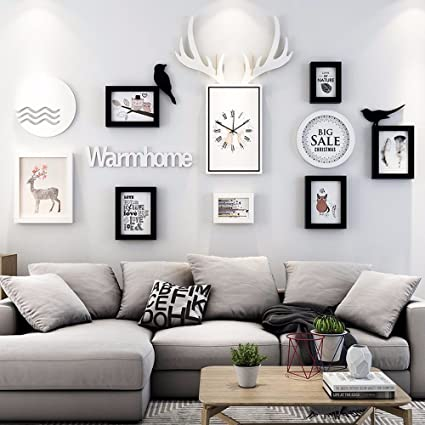 Picture Frames Home & Kitchen WUXK The living room decorated in a modern and minimalist sofa wall Nordic creative combination wall painting photo wall,D