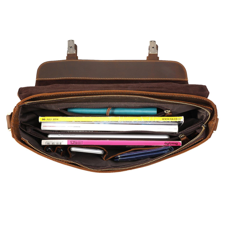 Kattee Men's Crazy Horse Leather Satchel Briefcase, 14'' Laptop Tote Bag by Kattee (Image #5)