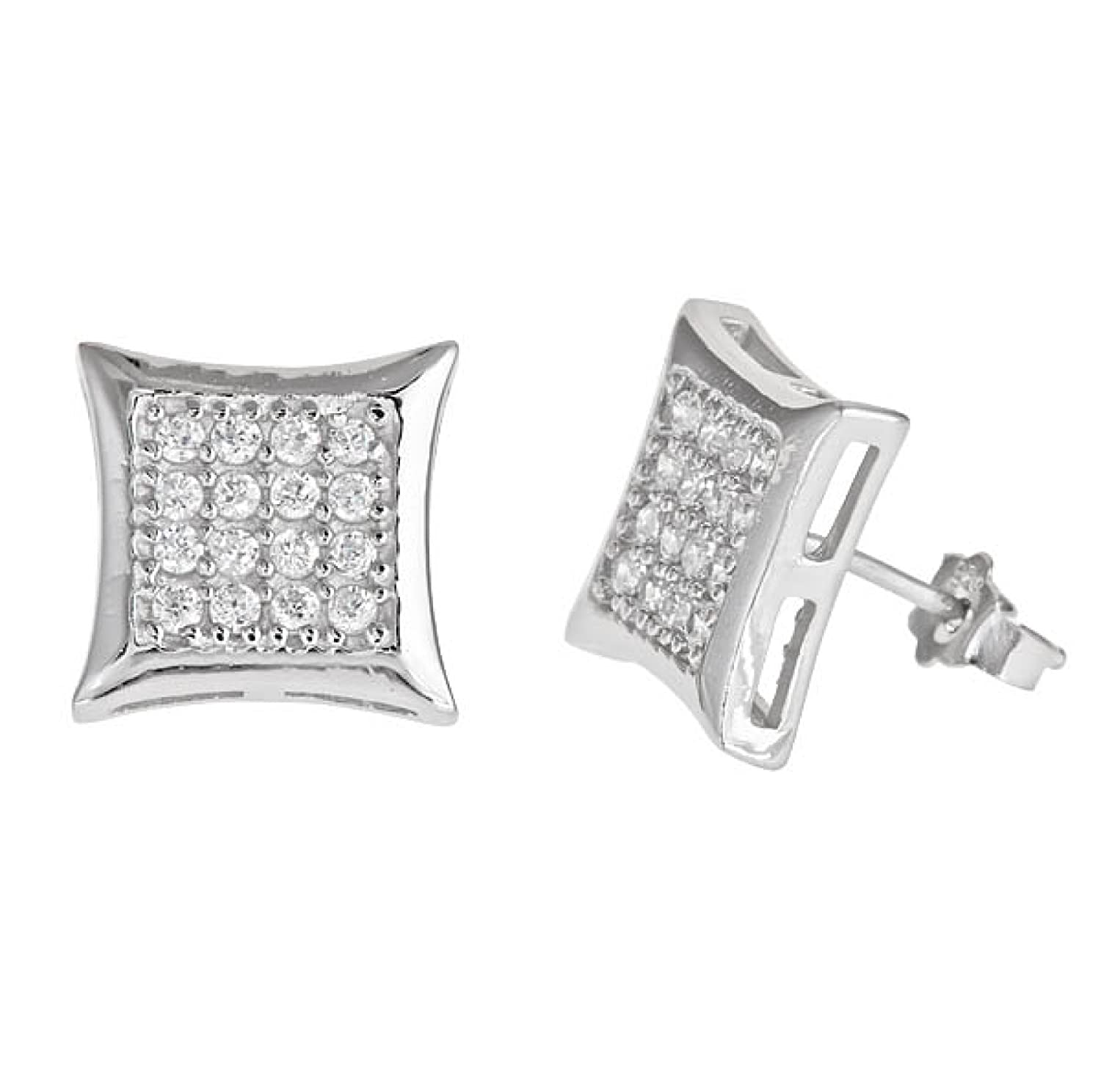 SQUARE KITE SHAPE 925 SILVER 14K WHITE GOLD PLATED WITH WHITE C.Z STONES STUD  EARRINGS MEN LADIES KIDS 10MM f45910e5a4b2