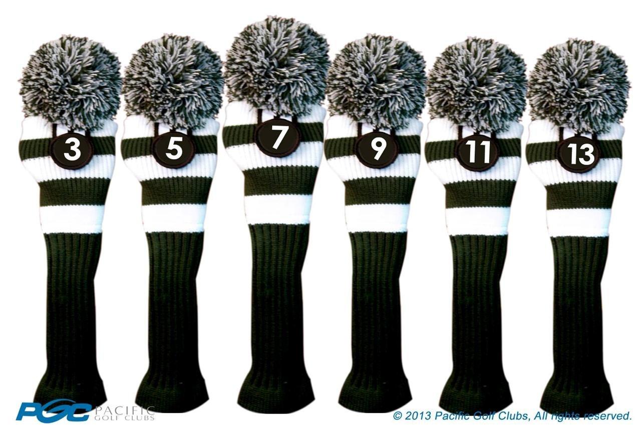 Majekゴルフクラブ3 5 7 9 11 13 White and Green Limited EditionフェアウェイウッドヘッドカバーツアーニットレトロヴィンテージPomクラシックロングネックメタルLongneck Woods Headcovers   B01DSBX4HI