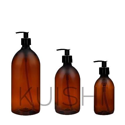 Kuishi - Juego de dos dispensadores de jabón de plástico, color ámbar, plástico, Amber, 1.000 ml: Amazon.es: Hogar