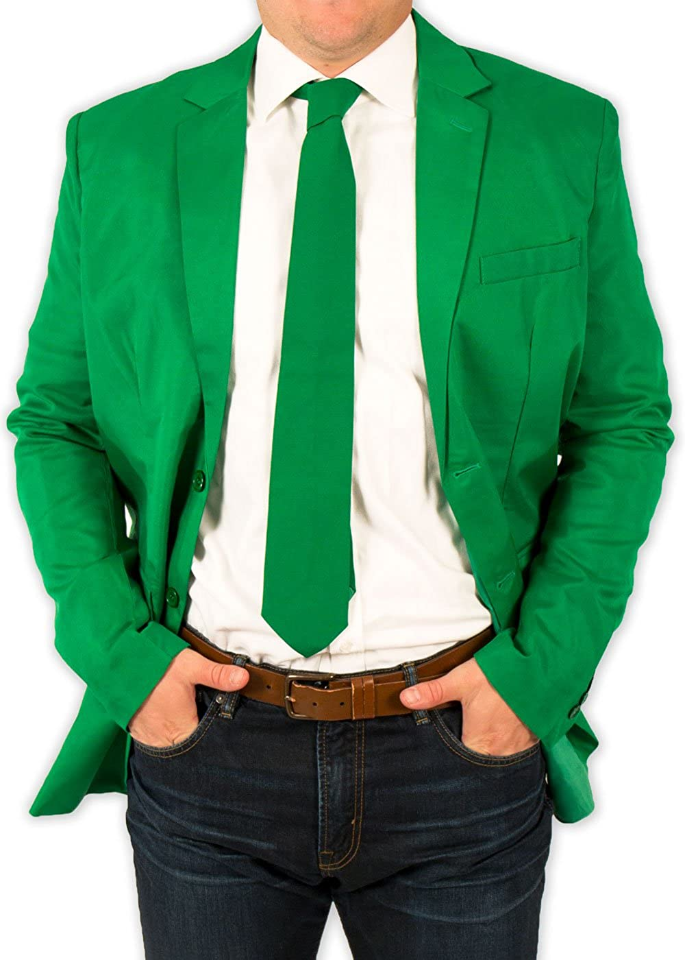 Festified Men's Classic Party Suit Coat and Tie In Green