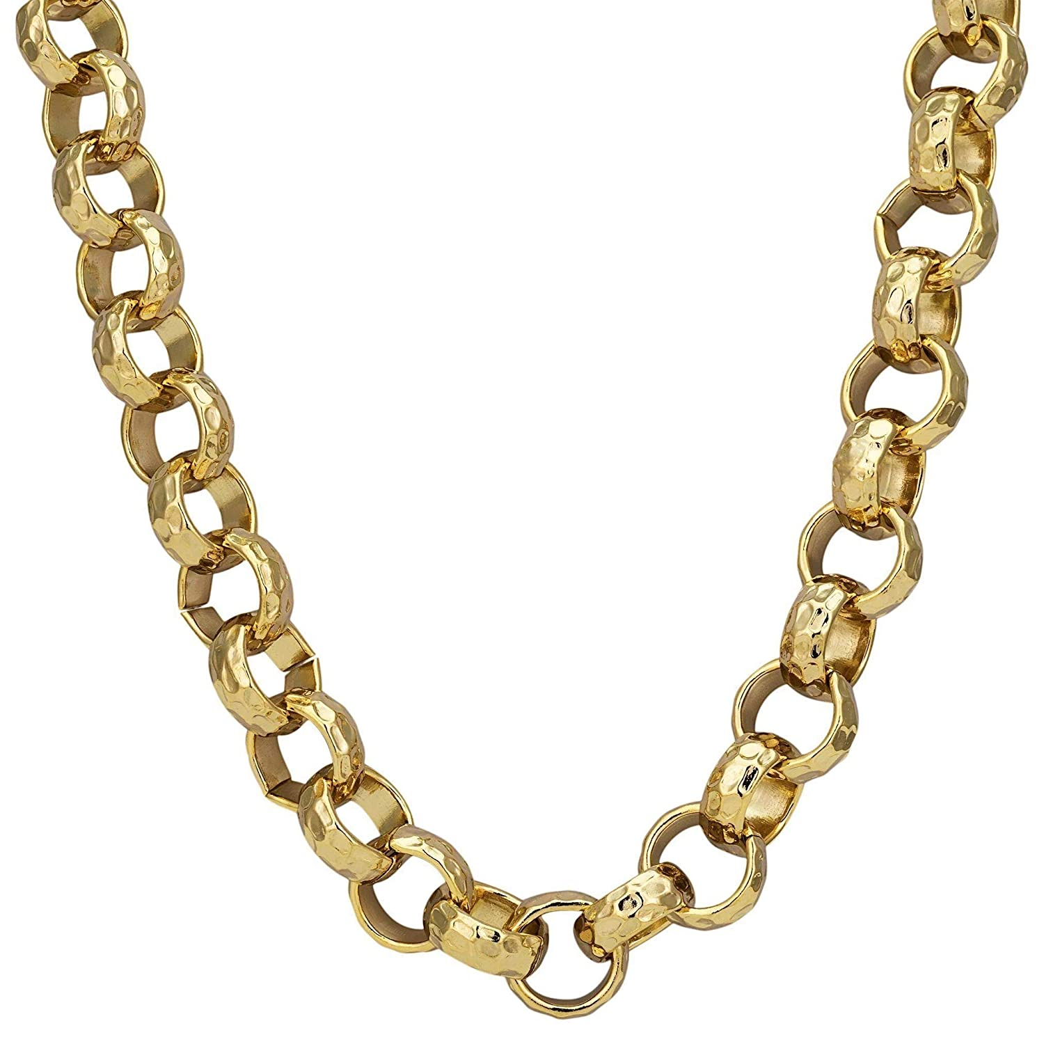 THE BLING KING Heavy Solid Yellow Gold Belcher Chain Necklace 9ct Gold Filled 12mm 20 24 30 inch Few Items Left