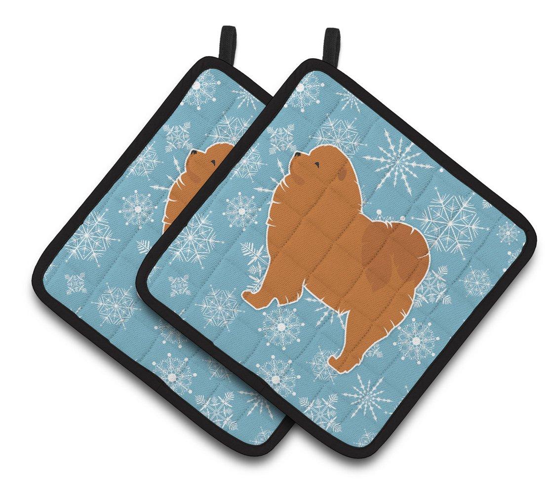 7.5HX7.5W Multicolor Carolines Treasures Winter Snowflake Chow Pair of Pot Holders BB3551PTHD