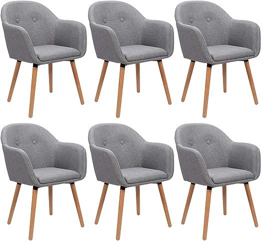 WOLTU 6 x Esszimmerstühle 6er Set Esszimmerstuhl Küchenstuhl Polsterstuhl Design Stuhl mit Armlehne, mit Sitzfläche aus Leinen, Gestell aus