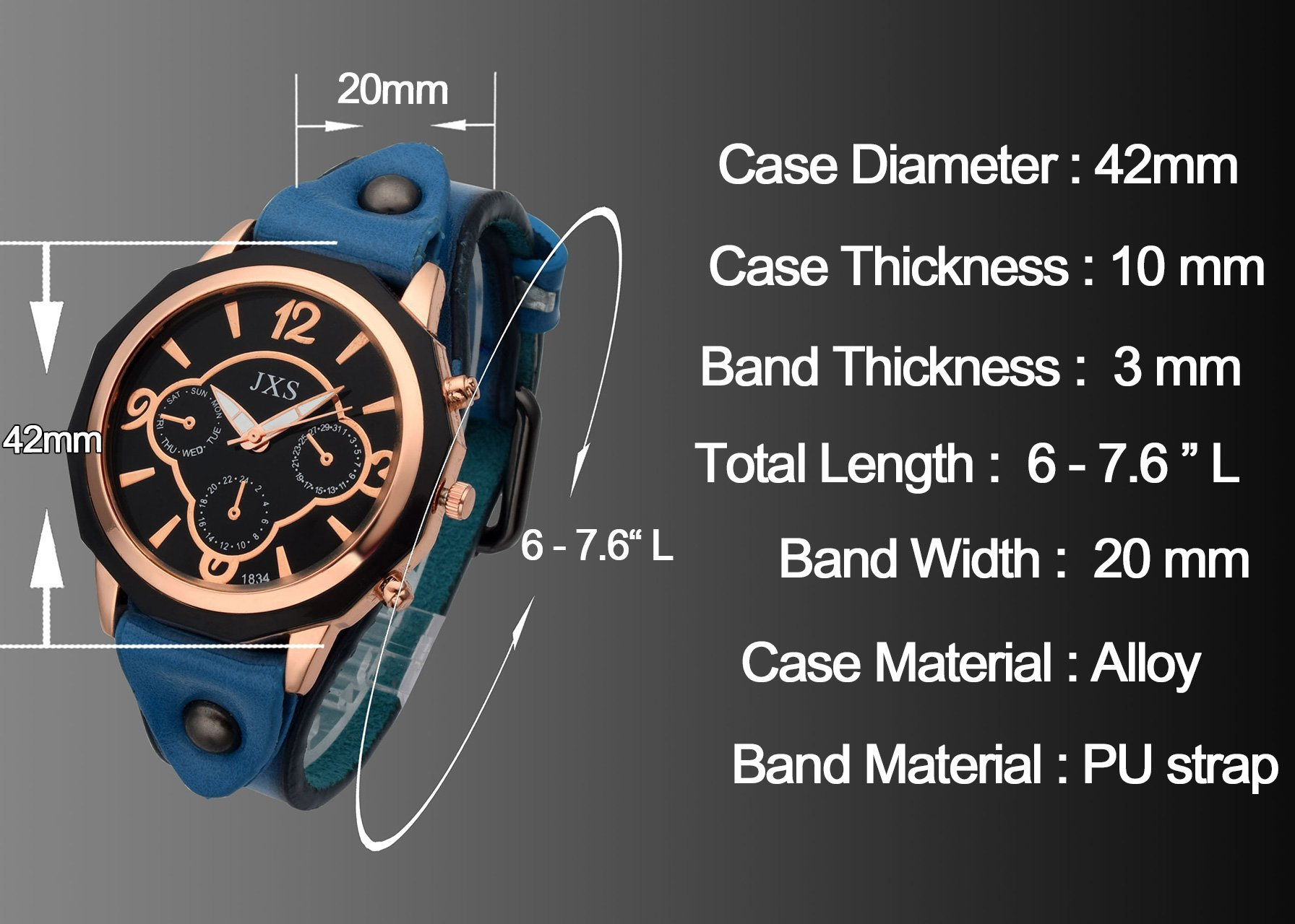 Top Plaza Womens Mens Fashion Rose Gold Tone Leather Analog Quartz Wrist Watch Arabic Numerals Big Face Casual Sport Watch - Black by Top Plaza (Image #3)
