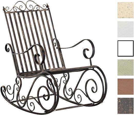 CLP Mecedora De Hierro Smilla I Mecedora Relax De Jardín I Mecedora De Exterior En Estilo Rústico I Sillón Mecedora De Balcón o Terraza I Color: Bronce: Amazon.es: Jardín