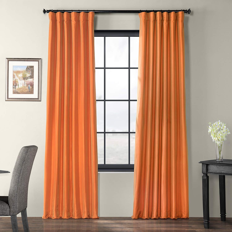 Harvest orange 50 x 108 PTCH-JTSP429-108 Faux Silk Taffeta Curtain, Winter Ice, 50  x 108