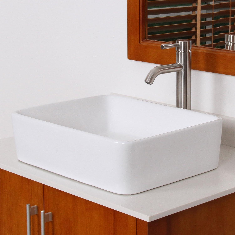 ELITE Bathroom Rectangle White Ceramic Porcelain Vessel Sink ...