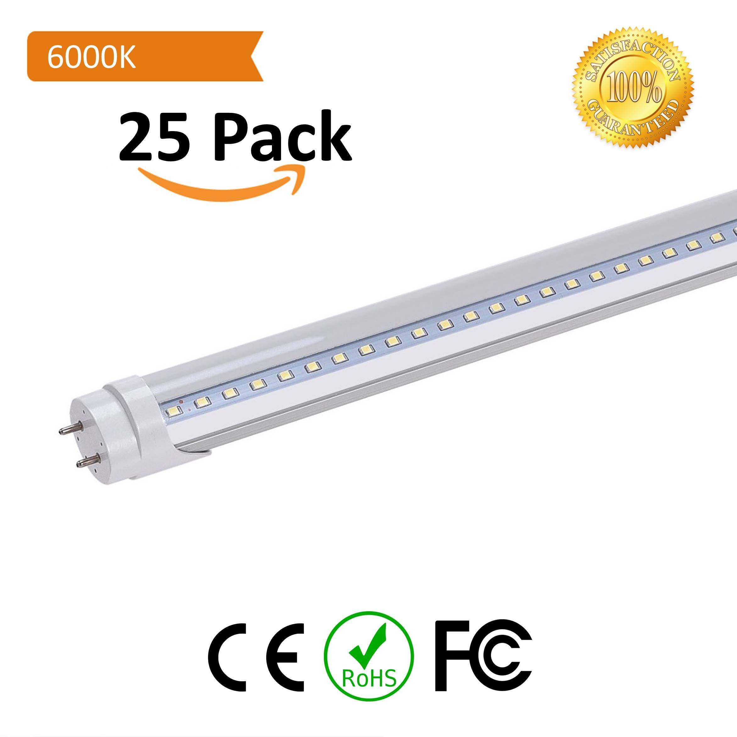 T8 LED Replacement, HouLight 25-Pack, 18W 4-foot T8 LED Light Tube, 6000K, Transparent Cover, Super Bright White, Double End Power