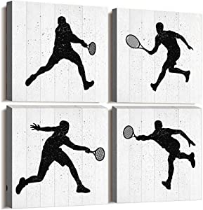 4 Panels Modern Giclee Prints Artwork bedroom Wall Decor office Canvas Wall Art for Living Room sports movement Plays Tennis Black and white watercolor Painting Bathroom Home decoration Pictures