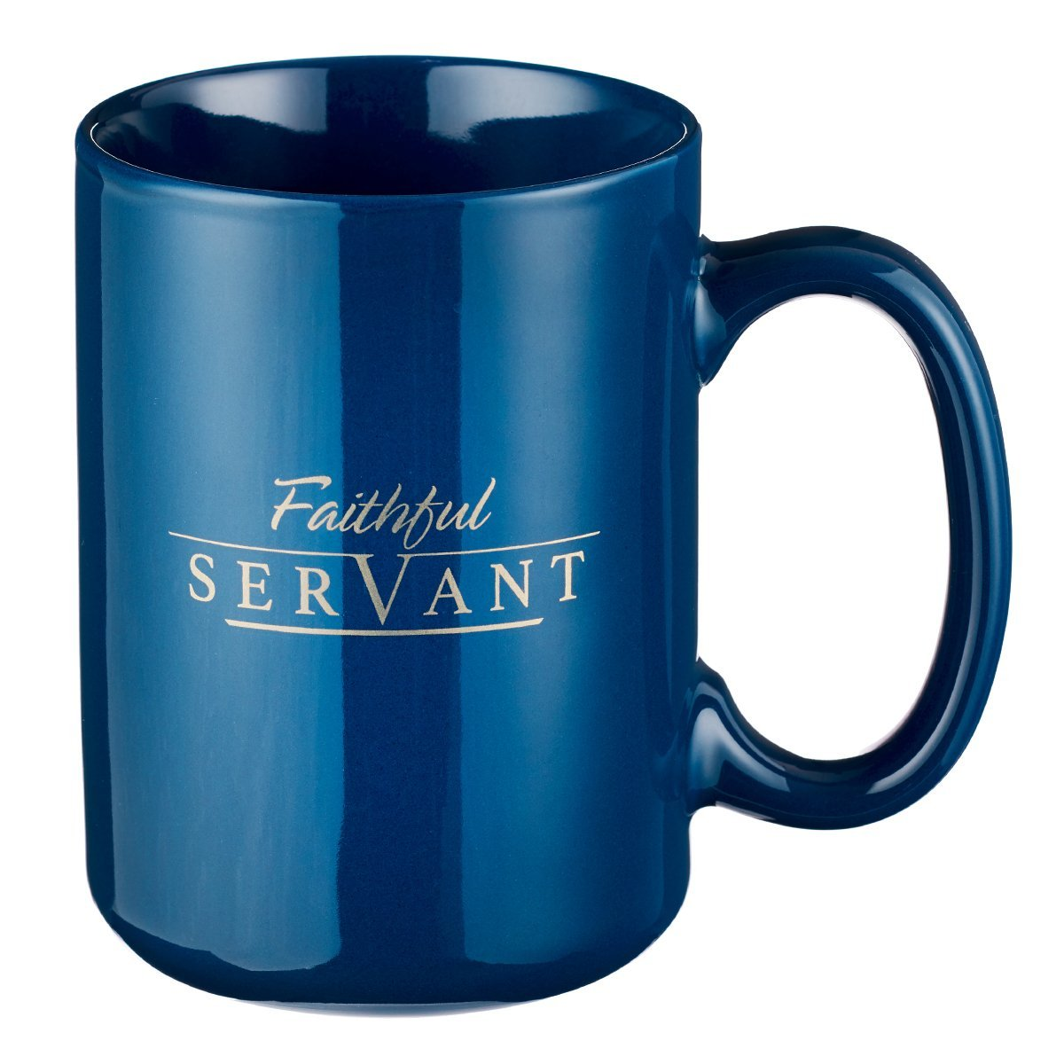 Mug - Be Strong Faithful Servant, Navy Blue by Christian Art Gifts