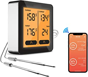 Utrent Bluetooth Remote Wireless Meat Thermometer for Grilling BBQ Smoker Oven Turkey Frying Smart App Cooking Thermometer with Dual Probes, LCD Backlight, Timer Alarm, 150 feet Range for iOS, Android