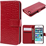 iPhone 5 5G Genuine Leather Flip Case Red Crocodile Style Full Body Holder+2 FREE Screen Protector Pack