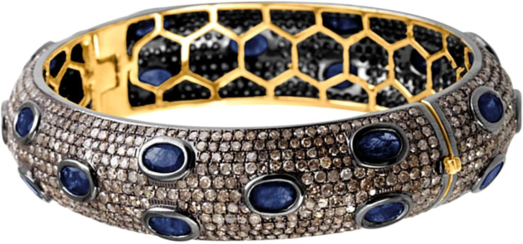Mother/'s Day Blue Sapphire Pave Diamond Feather Ring 18k Gold Sterling Silver