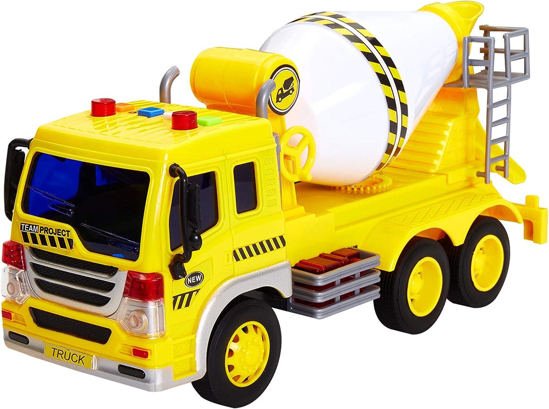 HERSITY Camiones Grandes de Juguete Coches de Construccion Mezcladora Vehículos Juguetes con Luces y Sonidos Regalos para Niños 3 4 5 6 Años