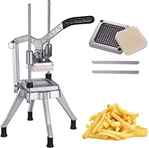 Frifer Commercial Vegetable Fruit Chopper French Fry Cutter 3/8″ Blade Heavy Duty Professional Food Dicer Stainless Steel Potato Chopper for Onion Peppers Potatoes Mushrooms,(Silver)