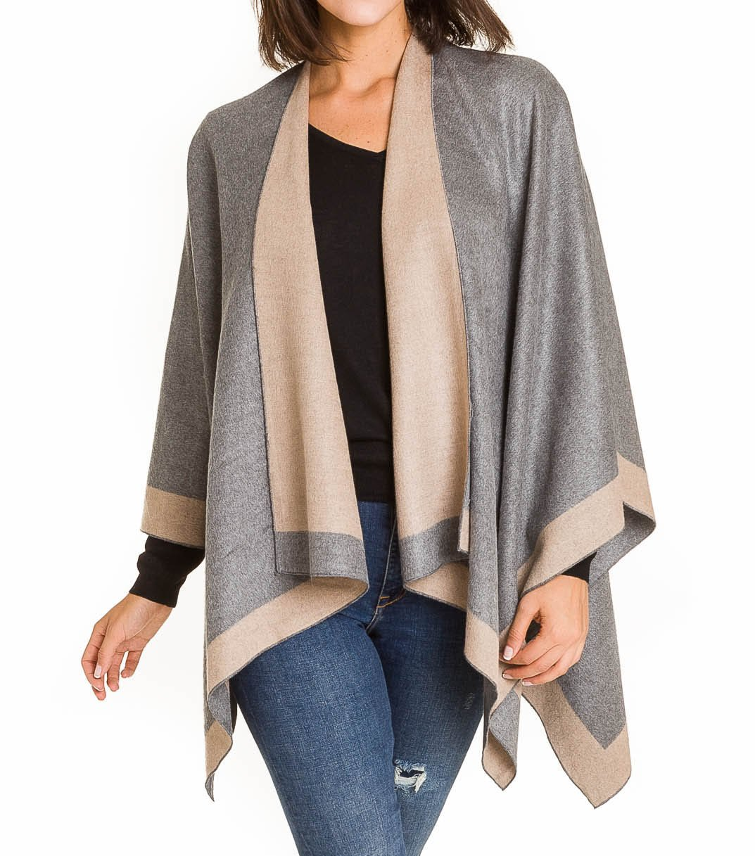 Cardigan Poncho Cape: Women Elegant Gray Beige Reversible Cardigan Shawl Wrap Sweater Coat for Winter (Light Gray Beige) by MELIFLUOS DESIGNED IN SPAIN (Image #2)