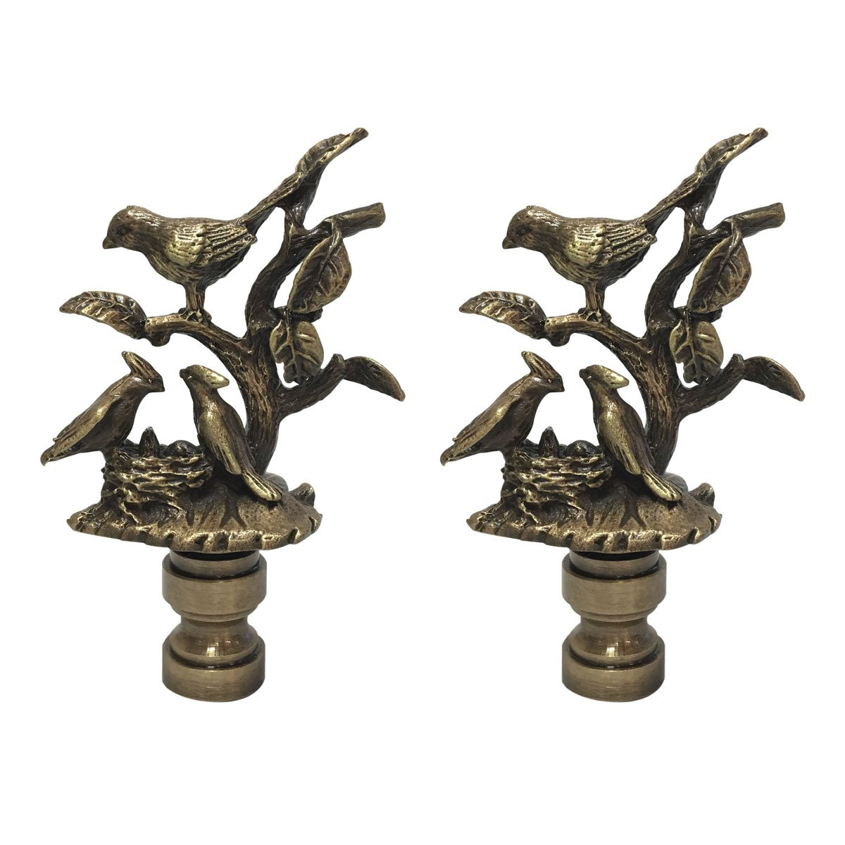 Royal Designs Nesting Birds Design Lamp Finial with Antiqued Brass Finish - Set of 2