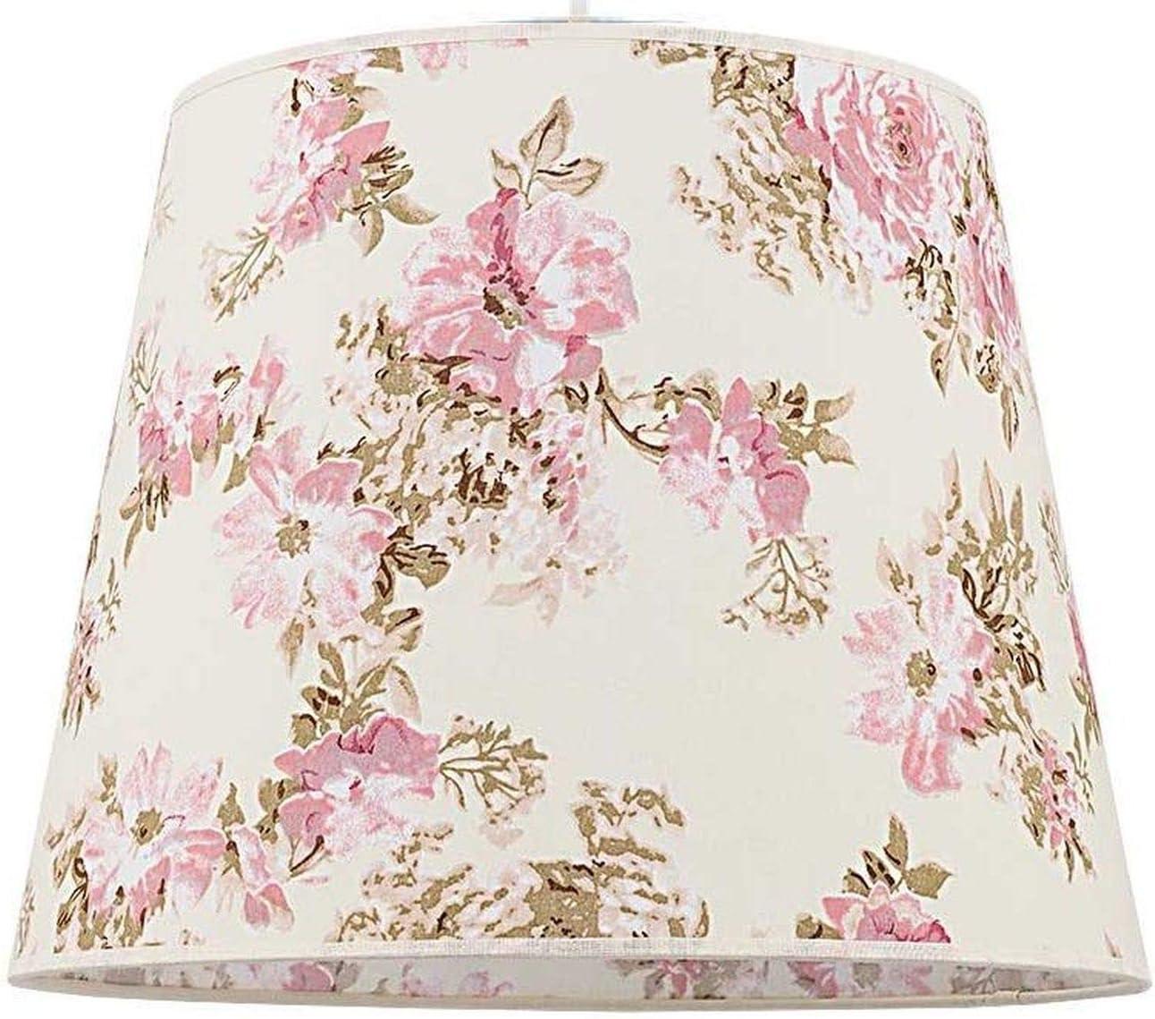 Abat jour conique en tissu pour lampadaire E27 motif fleur