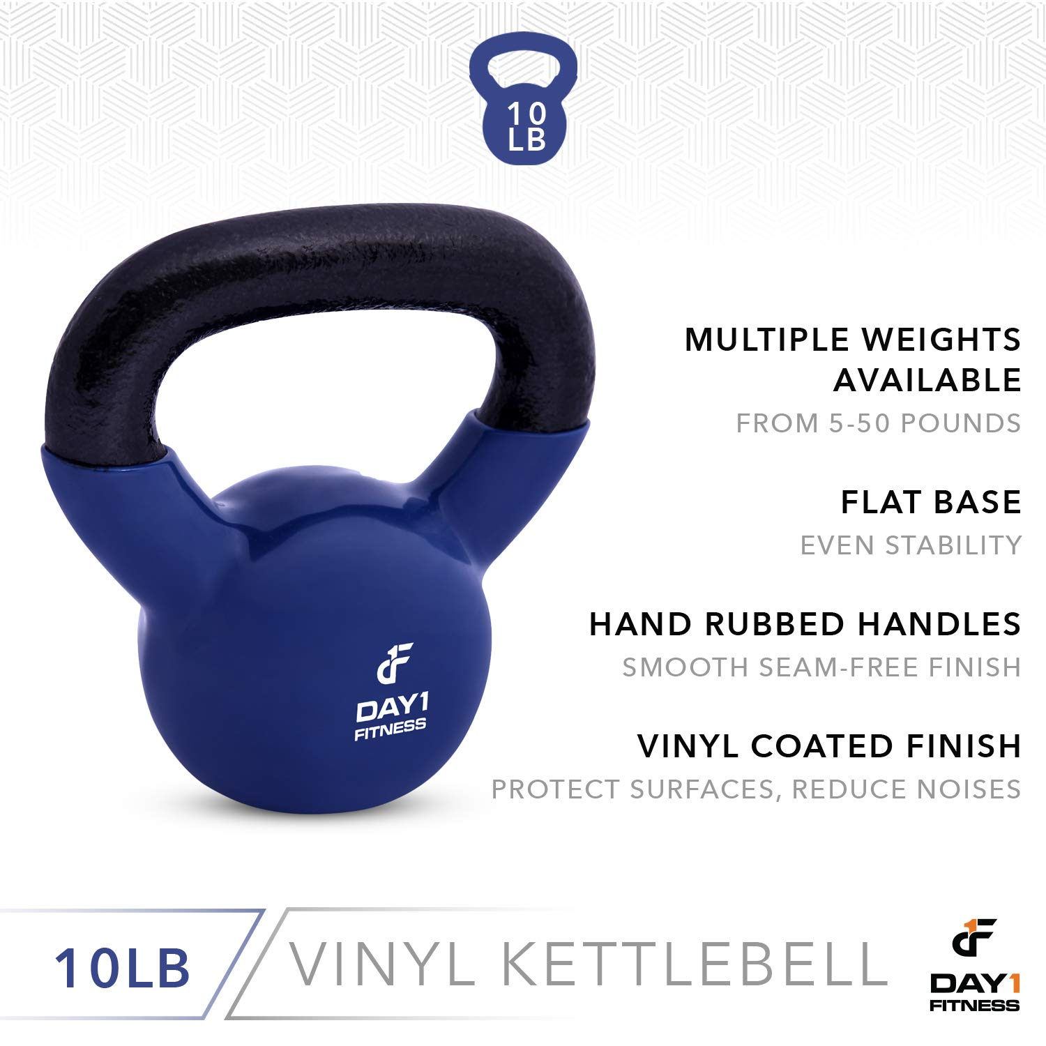 Day 1 Fitness Kettlebell Weights Vinyl Coated Iron 10 Pounds - Coated for Floor and Equipment Protection, Noise Reduction - Free Weights for Ballistic, Core, Weight Training by Day 1 Fitness (Image #4)