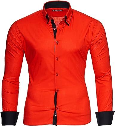 Reslad Camisa de hombre ajustada contraste de manga larga camisa Alabama RS-7050: Amazon.es: Ropa y accesorios