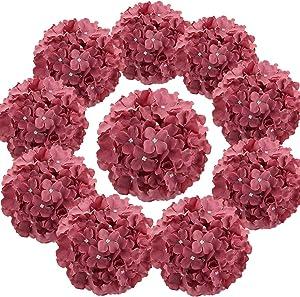 Flojery Silk Hydrangea Heads Artificial Flowers Heads with Stems for Home Wedding Decor,Pack of 10 (Mauve)