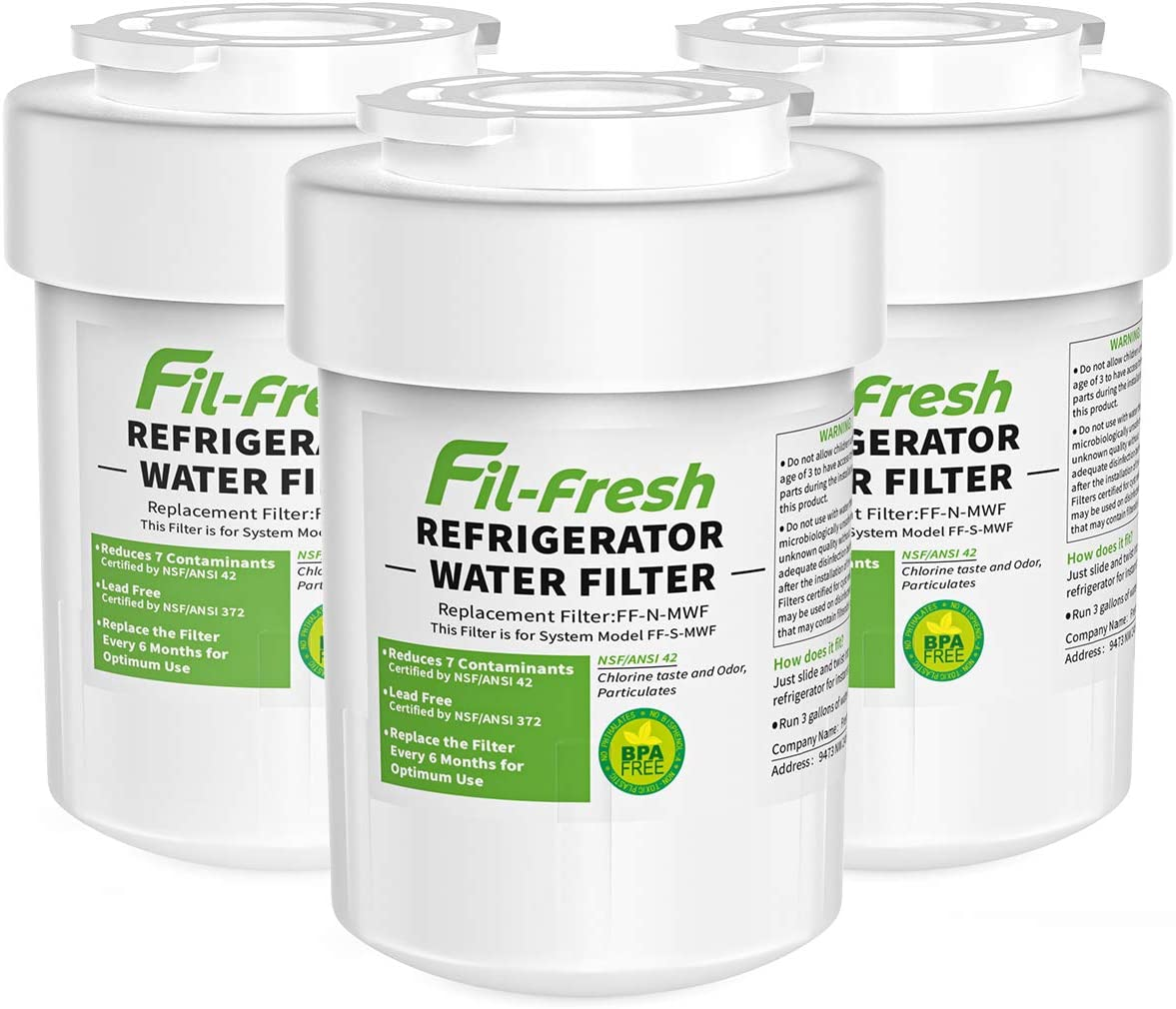 Fil-fresh MWF Water Filter Replacement for GE SmartWater MWF, Compatible with GE Refrigerator, NSF Certified, 3 Pack