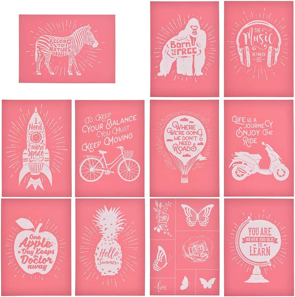 YeulionCraft Self-Adhesive Silk Screen Printing Stencil Mesh Transfers Various Pattern for DIY Home Decoration T-Shirt Pillow Fabric Painting Life-Friday