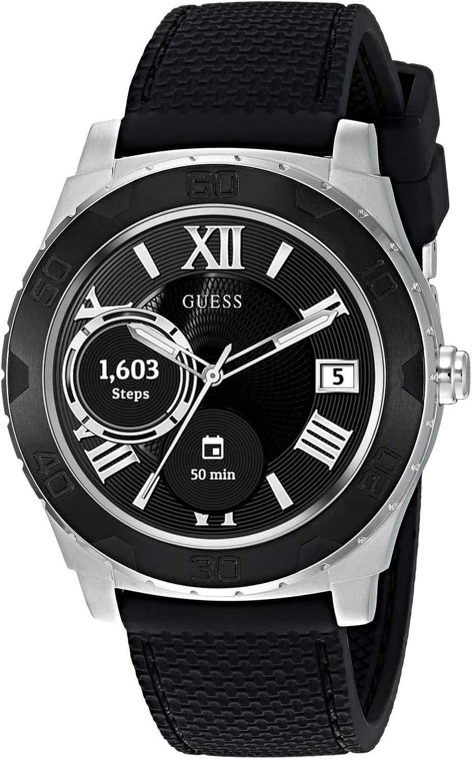 GUESS Men's Stainless Steel Android Wear Touch Screen Silicone Smart Watch, Color: Black (Model: C1001G1)