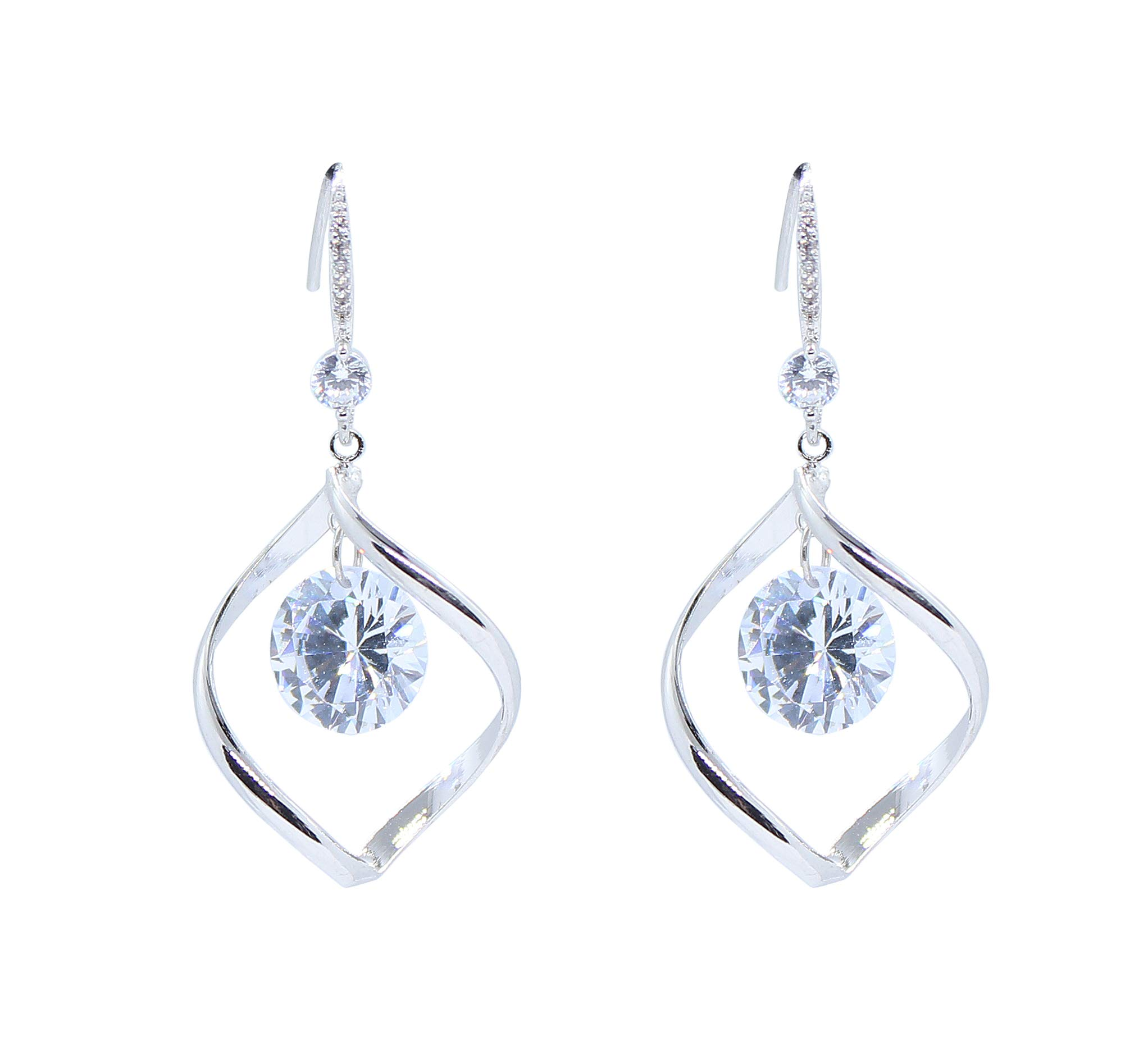 Goddess Area Pearl Drop Vintage Wedding Dangle Earrings(Silver Twisted Crystal)