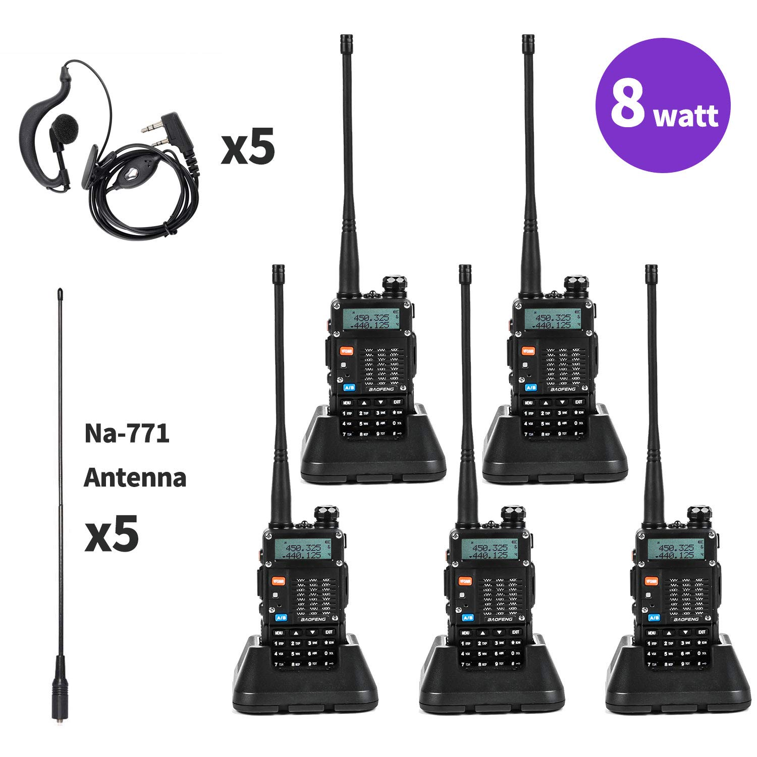 Baofeng UV-5R Radio 8Watt Ham Radio Dual Band Baofeng Walkie Talkie Baofeng BF-F8GP Two Way Radio UHF VHF Walkie Talkies with TID NA-771 Antenna 5 Pack by BaoFeng