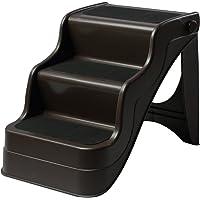 Pawhut Escalier pour Chien Animaux Pliable 3 marches antidérapant Pliable Portable Charge Max. 15 Kg 49L x 39l x 39H cm Plastique Marron foncé