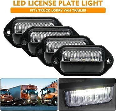 Number Plate Light,10-30V 6 LED ABS License Plate Light Lorry White Lamp for Trailer Truck