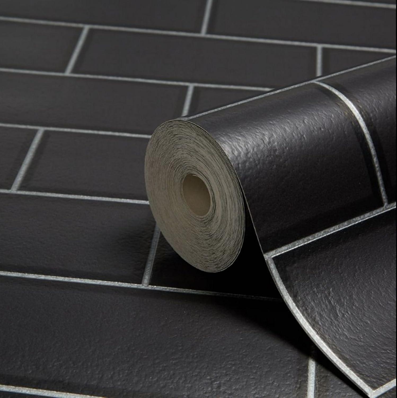 BHF FD40137 Papier peint style carrelage de m/étro pour cuisine et salle de bain Noir