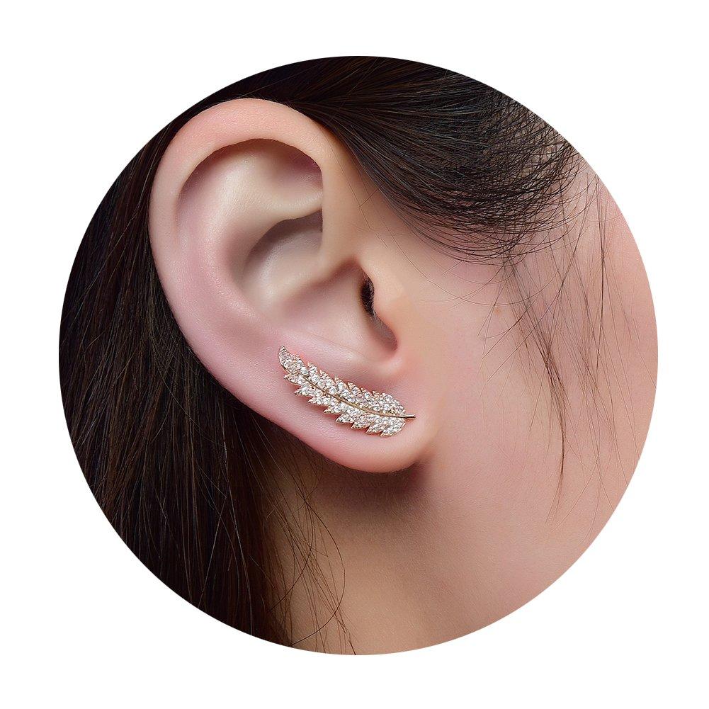 Ear Crawler Earrings for Women Ear Climber Cuff Earrings Rose Gold Leaf CZ