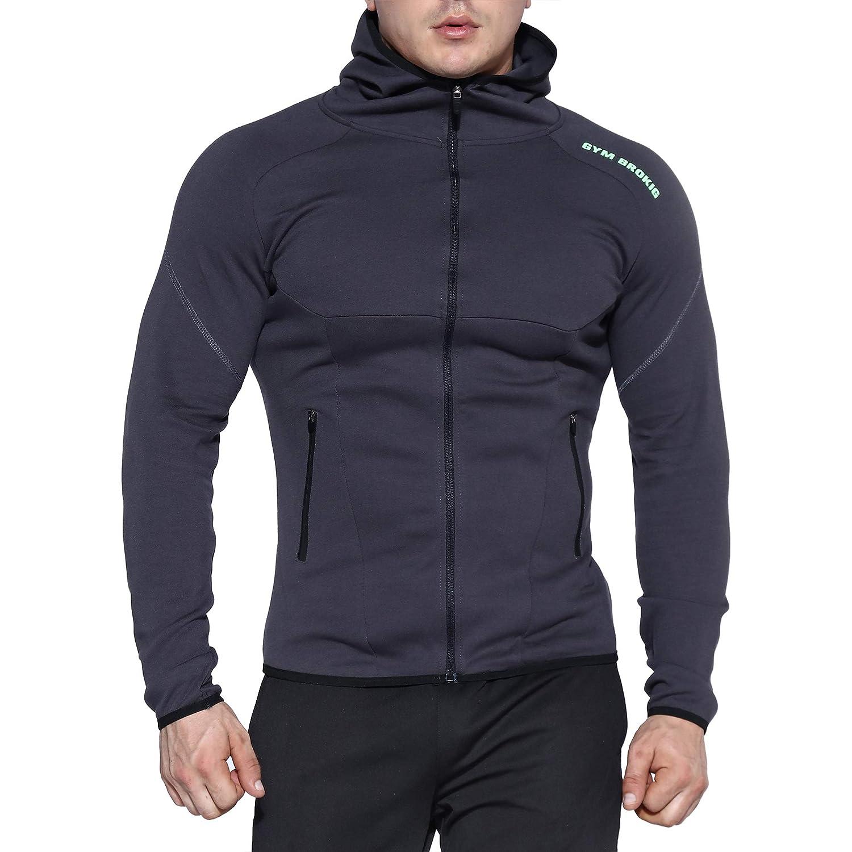 BROKIG Mens Zip Gym Hoodies Workout Running Muscle Hoodie Sweatshirts with Zipper Pockets