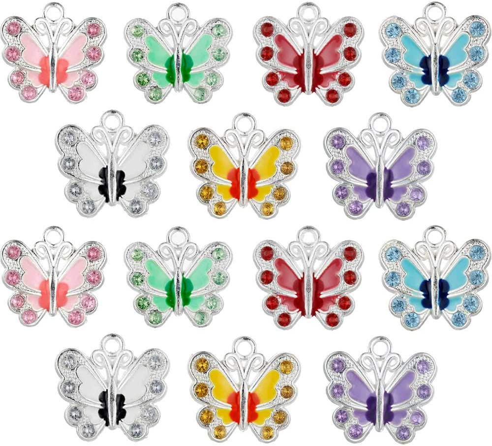 fairy maker 14PCS Enamel Butterfly Charm Pendants for DIY Jewelry Making,7 Color
