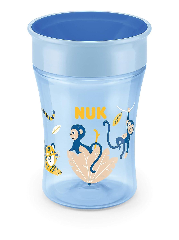 auslaufsicher abdichtende Silikonscheibe NUK 10255507 Magic Cup Trinklernbecher blau Affe 8+ Monat 360/° Trinkrand 230ml BPA-frei