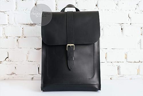 HIPSTER backpack BLACK leather backpack Women backpack Vintage backpack Men backpack Minimalist backpack Backpack purse Leather backpack man