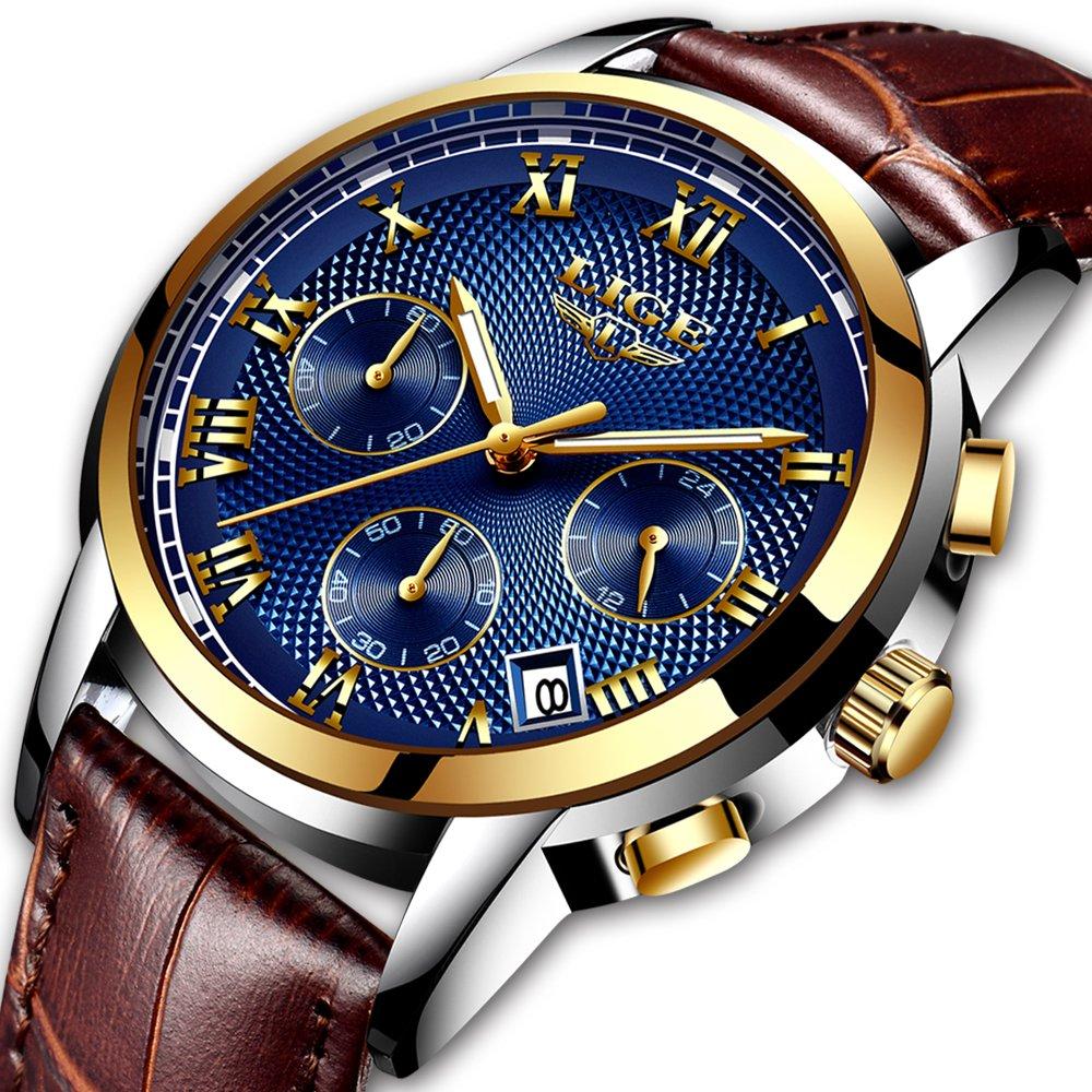 Men's Fashion Business Watch Luxury Chronograph Watch Quartz Watch Casual simulation watchWaterproof Watch Blue Dial