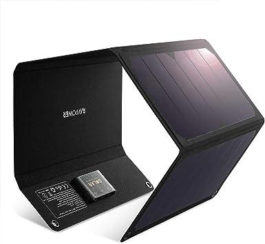 RAVPOWER Cargador Solar con Doble Puerto USB (Plegable, portátil ...