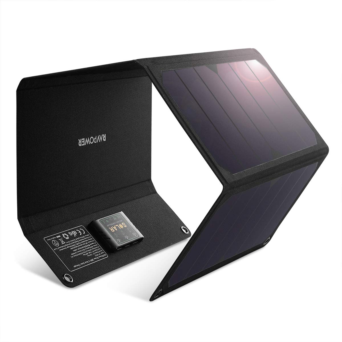 RAVPower Solar Charger 28W Solar Panel with Dual USB Port Waterproof Foldable Camping Travel Charger Compatible iPhone Xs XS Max XR X 8 7 Plus, iPad, Galaxy S9 S8 Edge Plus, Note, LG, Nexus and More by RAVPower