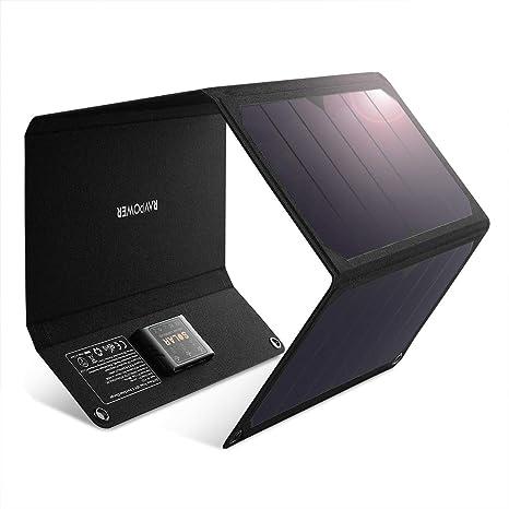 Amazon.com: RAVPower - Cargador solar de 28 W con doble ...