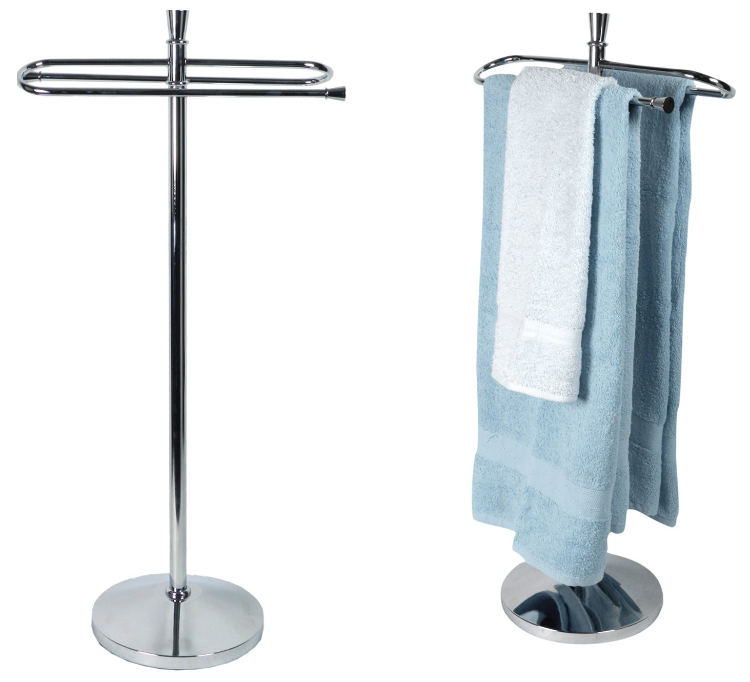 Solid Weld, No Assembly, Chrome Plated, ''Conic'' Free Standing Bath Towel Rack + Shelf, For Bathroom Storage