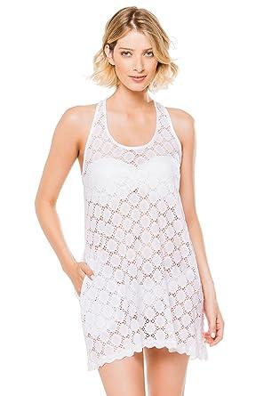 e77a5391b7 J. VALDI Women's Crochets Circle Lace Tank Dress Swim Cover Up White L at  Amazon Women's Clothing store: