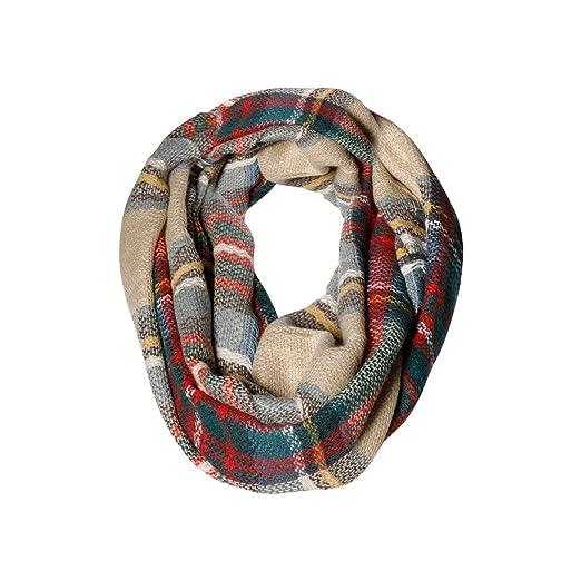 6109d28b47587 Red, Green Beige Plaid & Tartan Infinity Scarf Fashion Warm Cozy ...